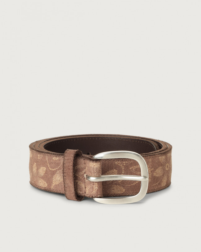 Orciani Fabric Flower fabric and leather belt Leather & fabric Cognac