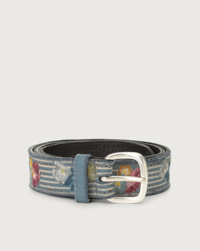 Orciani Flower Color fabric and leather belt Leather & fabric Denim
