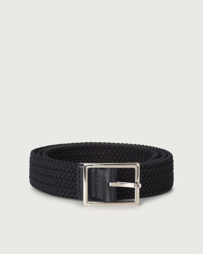 Orciani Small Elast braided fabric belt Canvas Blue