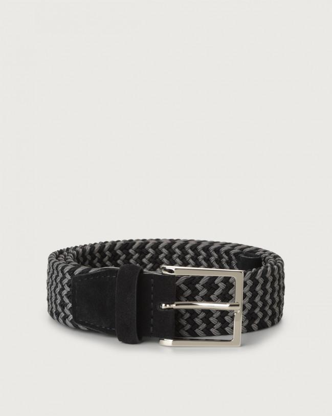 Orciani Dual Elast braided fabric belt Canvas Navy