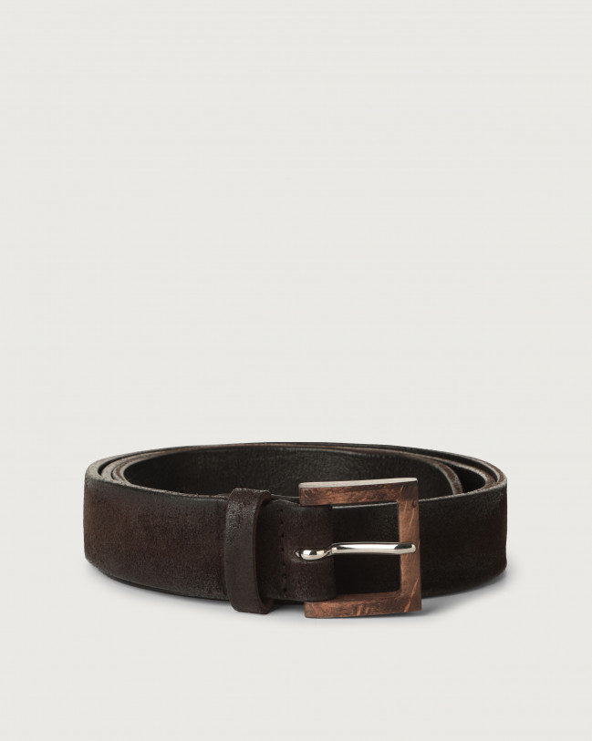 Orciani Hunting suede belt with wooden buckle 3 cm Suede Chocolate