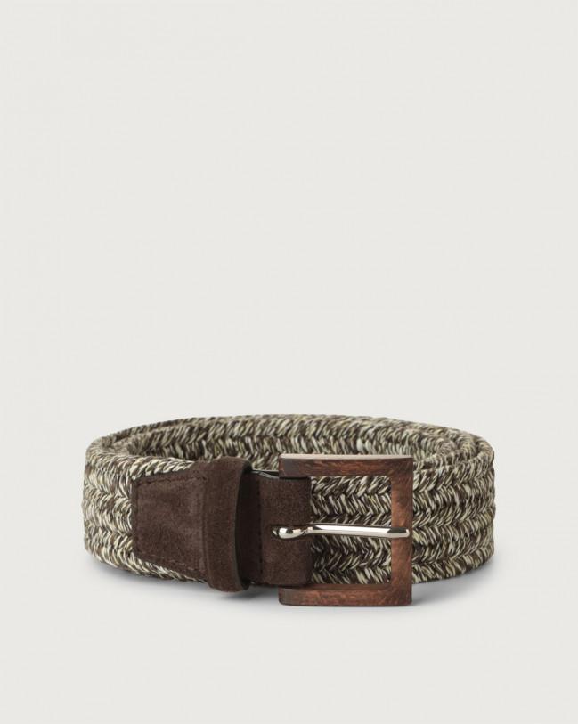 Orciani Melange Elast woven linen belt Canvas Chocolate