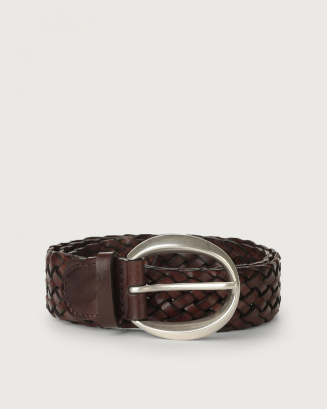 Orciani Masculine braided leather belt 3,5 cm Leather Chocolate