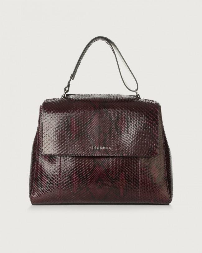 Orciani Sveva Diamond medium python leather shoulder bag with strap Python Leather Purple