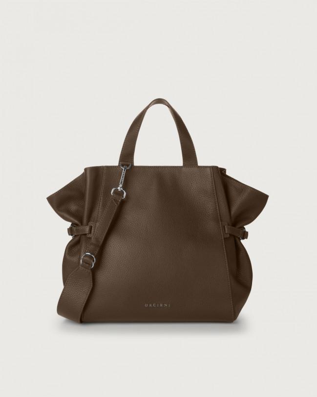Orciani Fan Micron medium leather handbag Leather Brown