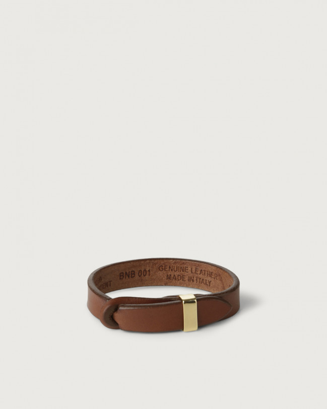Orciani Bull leather Nobuckle bracelet with gold detail Leather Burnt