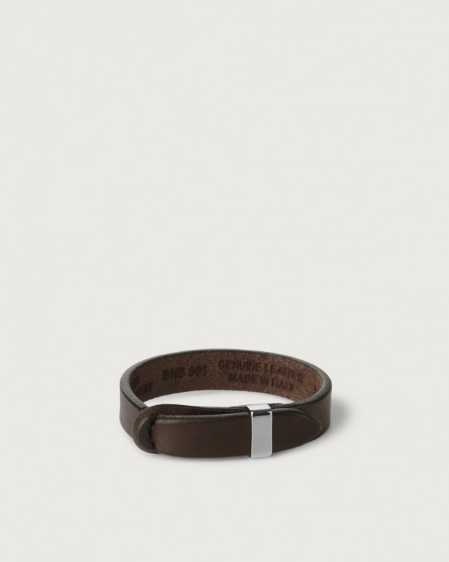 Orciani Bull leather Nobuckle bracelet with silver detail Leather Chocolate