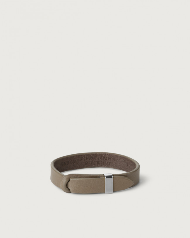 Orciani Bull leather Nobuckle bracelet with silver detail Leather Taupe
