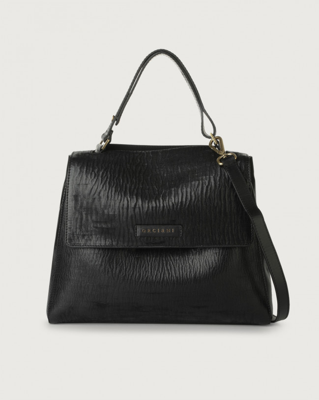 Orciani Sveva Cutting medium leather shoulder bag with strap Leather Black