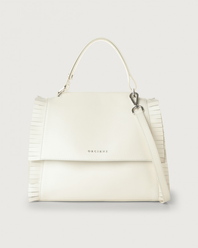 Orciani Sveva Fringe medium leather shoulder bag with strap Leather White