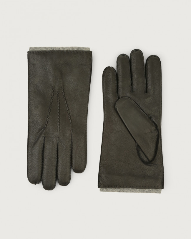 Orciani Cervo leather gloves Cashmere, Leather, Wool Brown