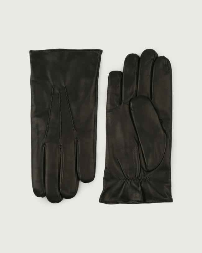 Orciani Nappa Flake leather gloves Black