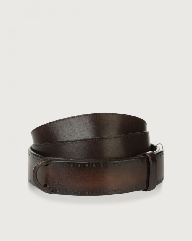 Orciani Buffer leather Nobuckle belt Chocolate