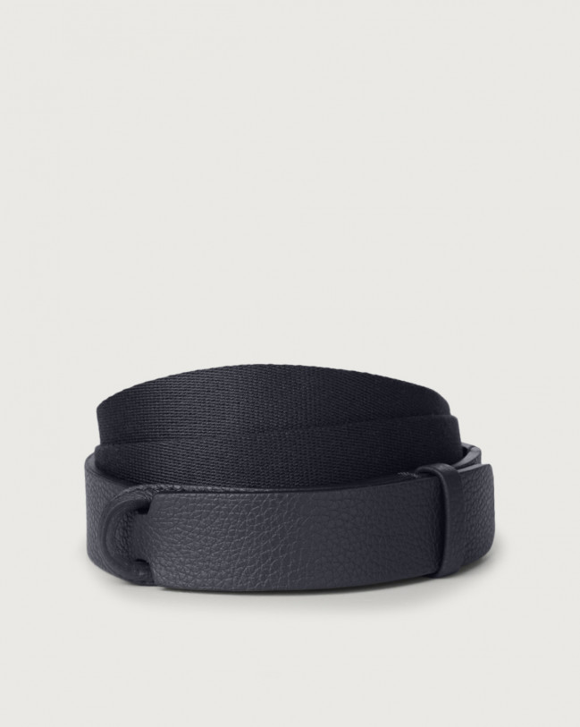 Orciani Micron leather and fabric Nobuckle belt Leather & fabric Navy