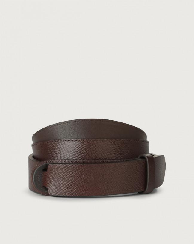 Orciani Saffiano leather Nobuckle belt Leather Chocolate