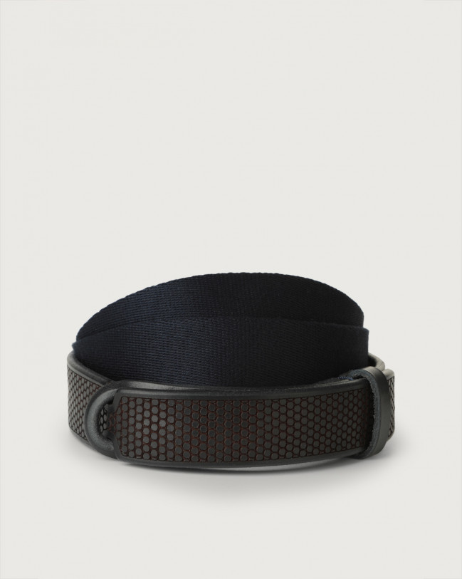 Orciani Bull Soft leather and fabric Nobuckle belt Blue