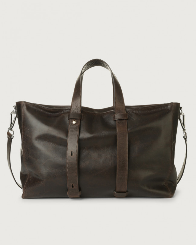 Orciani Artik leather weekender bag Leather Chocolate