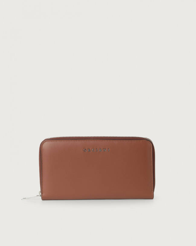 Orciani Liberty large leather wallet with zip Leather Cognac