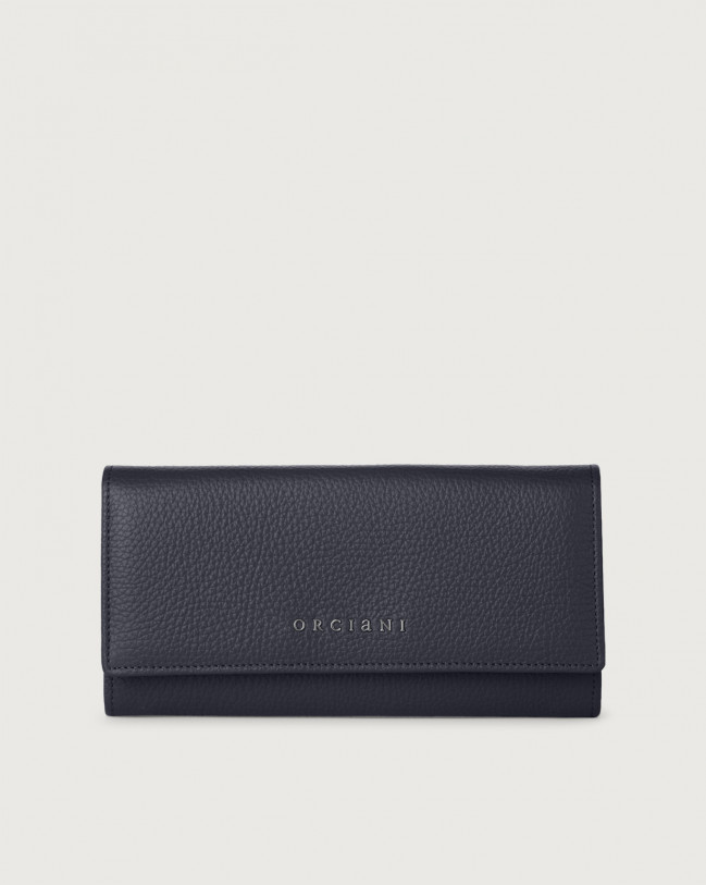 Orciani Micron leather envelope wallet with RFID Leather Navy