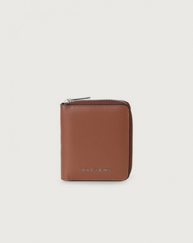 Orciani Liberty small leather wallet with zip Leather Cognac