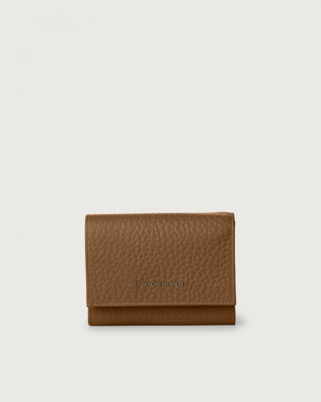 Orciani Soft small leather envelope wallet with RFID Leather Caramel
