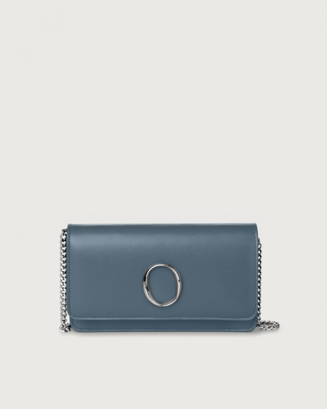 Orciani Liberty leather pochette with RFID Leather Denim