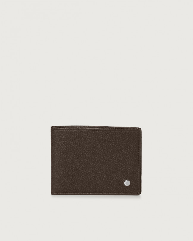 Orciani Micron leather wallet with RFID Leather Ebony