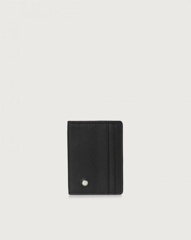Orciani Micron hinge opening leather card holder Leather Black