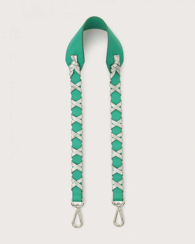 Orciani Soft leather strap with binding Green