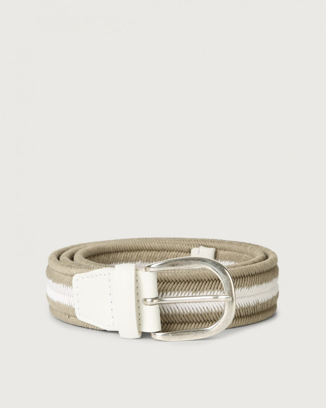 Orciani Elast Duo woven stretch cotton belt Leather & cotton Sand