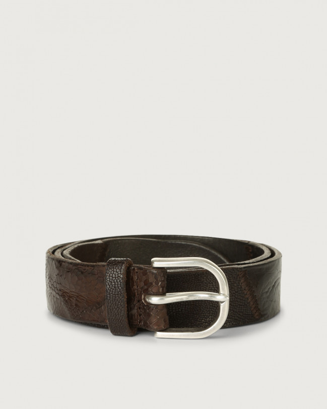 Orciani Patchwork Mix leather belt Leather Chocolate
