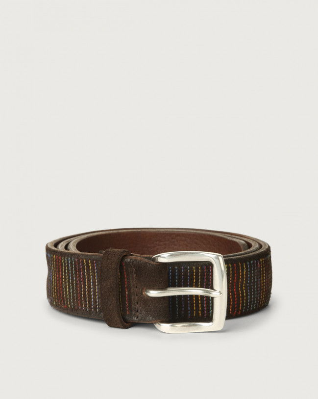 Orciani Cloudy Stripe suede leather belt Suede Chocolate