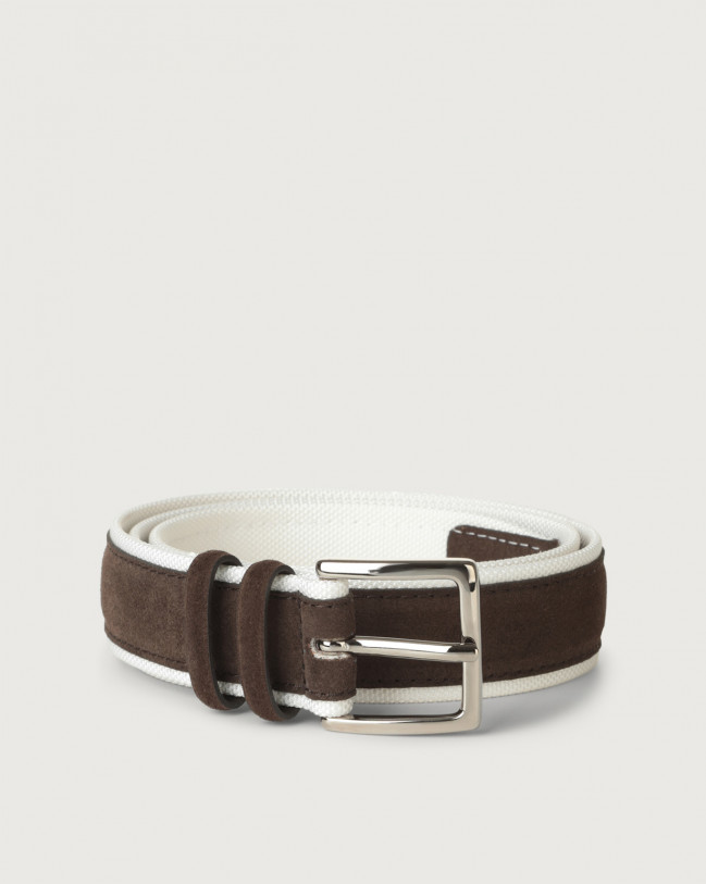 Orciani Amalfi Active suede and fabric belt Canvas, Suede Chocolate+White