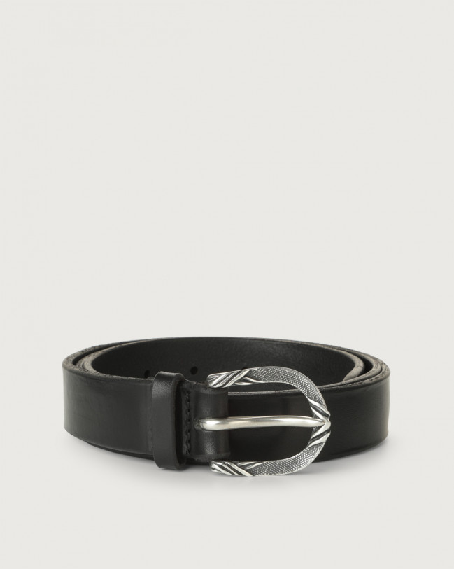 Orciani Bull Soft C leather belt 3 cm Leather Black
