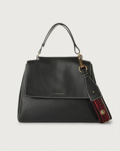 Sveva Fanty Black medium leather shoulder bag with strap