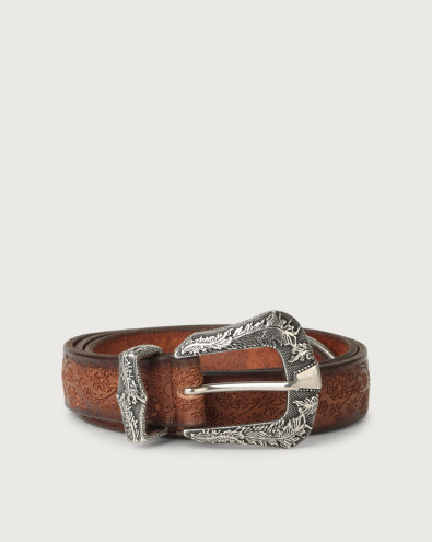 Stain western details leather belt