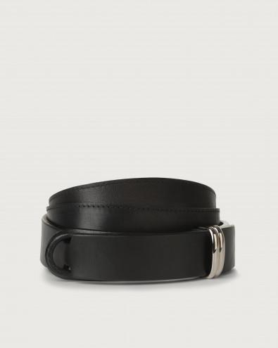 Bull leather Nobuckle belt metal loop