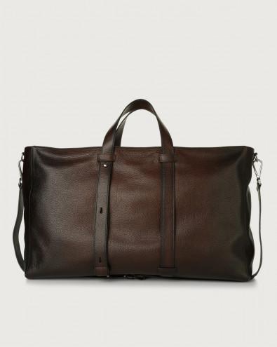 Micron Deep large leather weekender bag