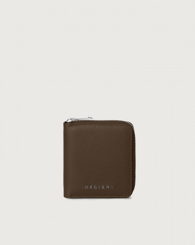 Micron small leather wallet with zip with RFID
