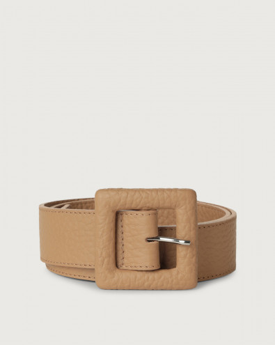 Soft leather belt with covered buckle