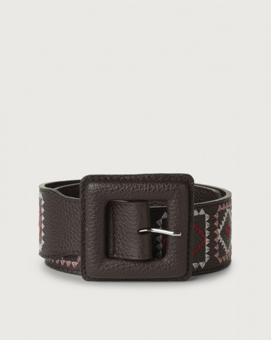 Warm high-waist leather belt