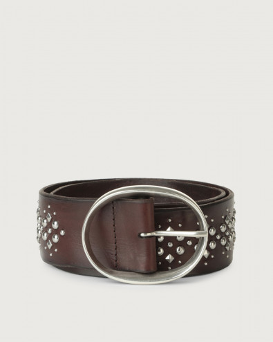 Bull Soft high-waist leather belt with studs
