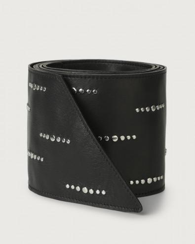 Natur micro-studs leather sash belt