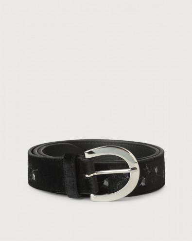 Velvet Bell velvet and leather belt