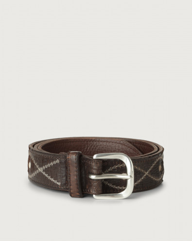 Cutting Bridle embroidered leather belt