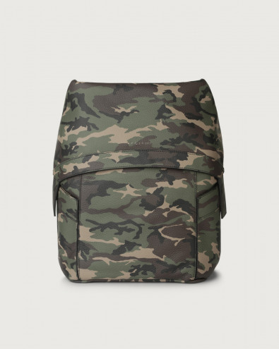 Camouflage leather backpack with flap