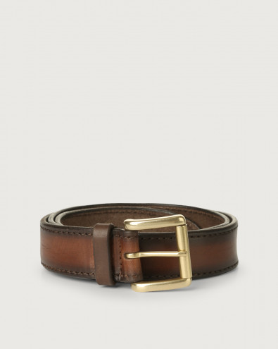 Buffer leather belt with brass finish roller buckle